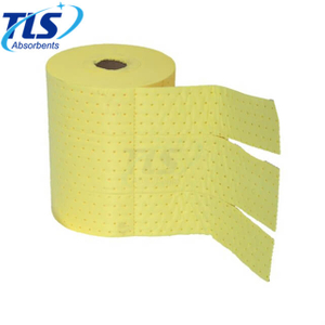 Spill Control Chemical Absorbent Rolls Yellow Color Perforated Type