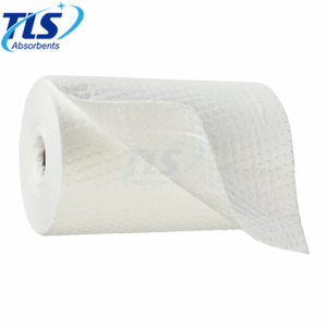 50m Recycle Oil Absorbent Rolls For Spill Emergency Dimpled Type White Color