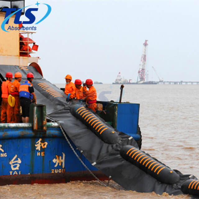 Inflatable Rubber Containment Boom Orange Color For Oil Spill